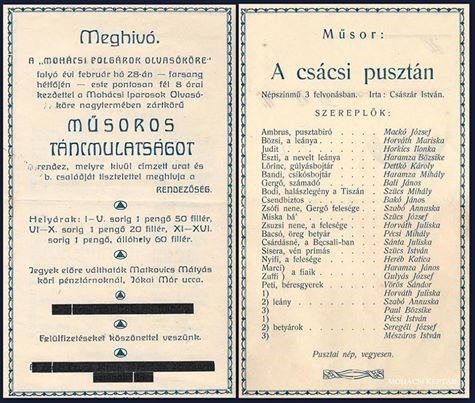 Farsangi meghívó 1938-ból